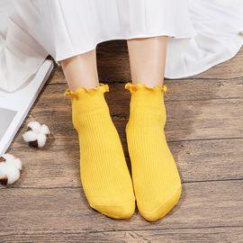 浪莎 花边袜子女日系堆堆袜韩国长袜复古中筒袜韩版秋冬款 5双装
