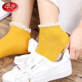 浪莎 花边袜子女日系堆堆袜韩国长袜复古中筒袜韩版秋冬款 蕾丝花边 5双装