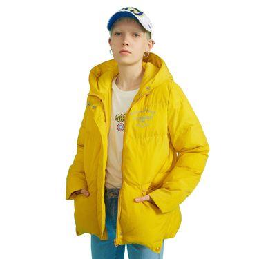 初语 黄色棉衣女冬装新款宽松短款棉袄撞色刺绣连帽面包棉服 8840842001