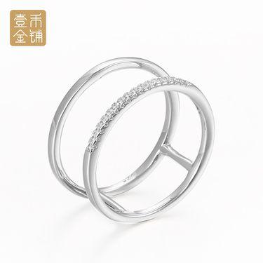 延金 925银镶锆石 群镶抛光双拼指套戒指#14  约2.58g