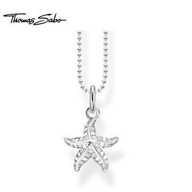 Thomas Sabo 925银锁骨链锆石密镶海星吊坠女式项链KE1754-051-14 洲际速买