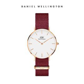 Daniel Wellington 手表女36mm丹尼尔惠灵顿新品 红色尼龙带超薄女士石英手表