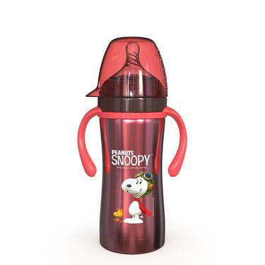 SNOOPY 温奶瓶正品宽口婴儿不锈钢奶瓶防摔防胀气带手柄