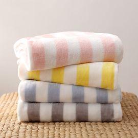 ABS 爱彼此 时尚条纹法兰绒毛毯 单条 多色随机