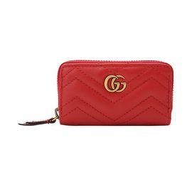 Gucci/古驰 GG Marmont系列 女士时尚绗缝皮革钱包