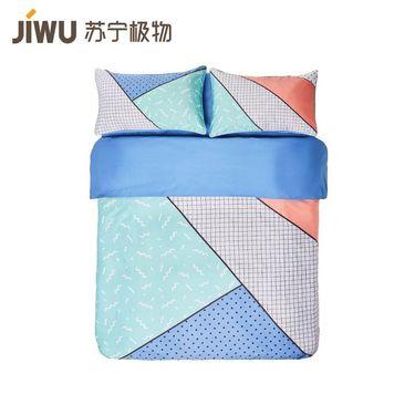 【苏宁极物】孟菲斯全棉风趣四件套 1.8m床 宝石蓝