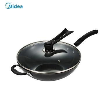 美的 炒锅 高纯度铸铁平底多用 无涂层底厚壁薄燃磁通用铁锅 32CM口径 CZ32B4