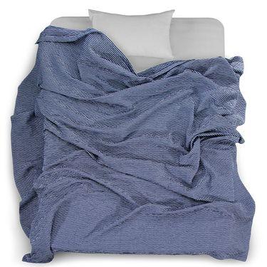 【易购】三利 棉布韩版条纹毛巾被 菱格缝线空调毯子 居家办公午休四季通用盖毯 150×200cm 绀色