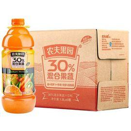 【易购】农夫山泉农夫果园30%混合果蔬汁1.8L橙+胡萝卜+苹果+菠萝+猕猴桃+樱桃李普通装1*6瓶整箱