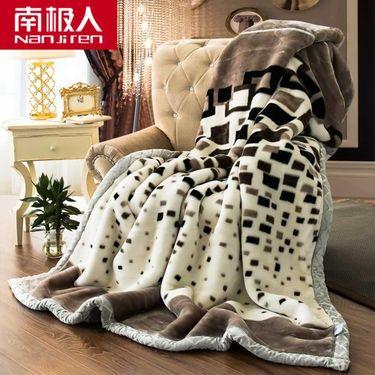 【易购】南极人(NanJiren)家纺 加厚保暖拉舍尔毛毯绒毯子 床上用品秋冬印花盖毯柔软厚实午睡毯其它 200x230