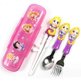 Disney/迪士尼 宝宝餐具套装勺叉筷儿童筷子勺子套装便携幼儿训练筷 DP2194长发公主
