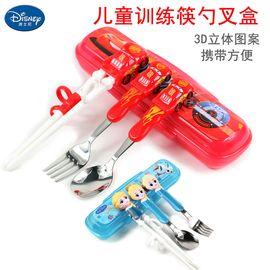 Disney/迪士尼 宝宝餐具套装勺叉筷儿童筷子勺子叉子套装便携幼儿训练筷 DM2324红色米奇筷勺盒+叉子