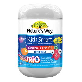 Nature's Way(澳大利亚) 佳思敏 儿童深海爆浆鱼油DHA咀嚼丸 三种果味180粒 益智补脑