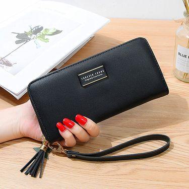 DUOLUPLO/多伦保罗 大容量长款多功能钱包皮夹 女士流苏拉链手拿包