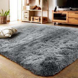 九洲鹿 地毯家纺 客厅卧室防滑地垫140*200cm 加厚丝毛脚垫床边毯长绒茶几毯爬行垫子 奶灰色