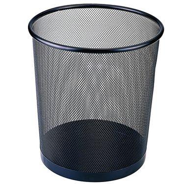 齐心 (Comix)金属网纹圆垃圾桶/纸篓/垃圾篓 中号 黑色 B2005
