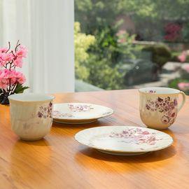 AITO 日本原产美浓烧陶瓷马克杯子餐碟盘子玫瑰2组套装