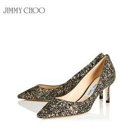 Jimmy Choo /周仰杰 女士尖头高跟鞋 ROMY60 ARG 复古闪金色 赠送厚木丝袜 洲际速买
