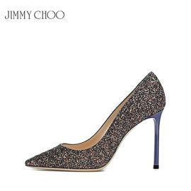 Jimmy Choo /周仰杰 银色ROMY100 TGF亮片女士尖头高跟鞋婚鞋 赠送厚木丝袜 洲际速买