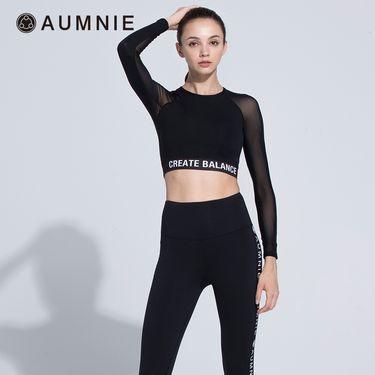 aumnie 澳弥尼丨女士运动上衣健身塑形瑜伽服含胸垫创造露脐T恤