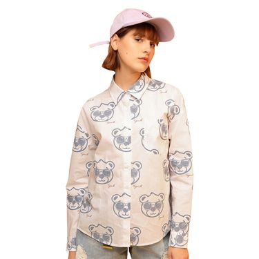 初语 卡通墨镜小熊印花衬衫女春装新款韩版宽松潮人休闲衬衣  8910212001