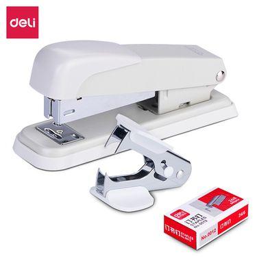 得力 (deli)钢制耐用办公订书机套装(订书机+起钉器+订书钉) 适配12#钉 颜色随机0359