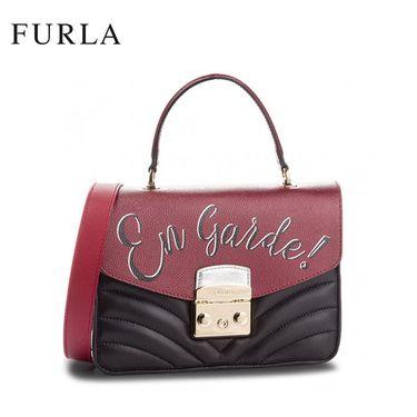 FURLA /芙拉METROPOLIS系列女士潮流手提单肩链条锁扣包977982红黑拼色 洲际速买