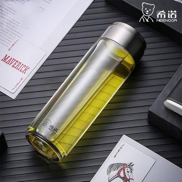 希诺 塑料杯子大容量家用带盖便携防摔户外运动水杯男女创意随手杯  325ml XN-8107