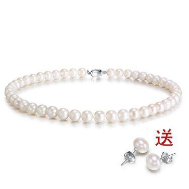 金六福尚美 天然强光珍珠项链礼盒装节日礼物最美的心意送珍珠耳钉CHR00071