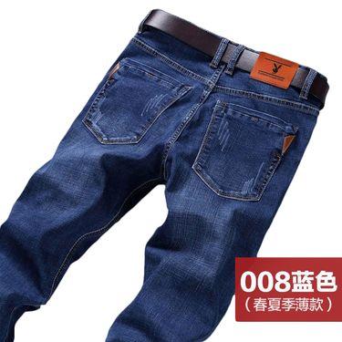 花花公子 春季新款牛仔裤男弹力修身韩版男士宽松休闲裤子