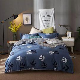 恒源祥 全棉印花四件套-乐享一族 1460813-4T 北欧简约风 床上用品套件 床单枕套被套纯棉组合(200*230cm)