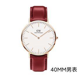 Daniel Wellington 【买就送市场价值600元赠品】DW手表男表40mm白盘金边红皮带欧美简约女士情侣款手表