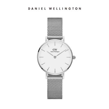 Daniel Wellington 丹尼尔惠灵顿DW女表新款金属编织表带28mm 钢带银色边白盘DW00100220