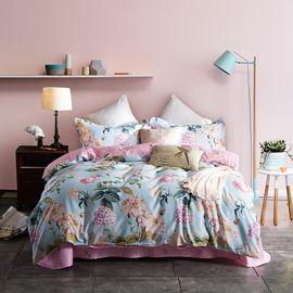 恒源祥 全棉印花四件套-花间云梦 1460814-1T 床上用品套件 床单枕套被套纯棉组合(200*230cm)