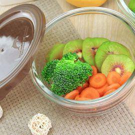 怡乐雅  耐热玻璃保鲜碗微波炉保鲜盒套装带盖圆形碗两件套