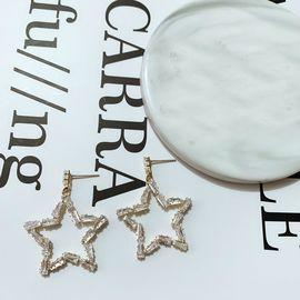 Silver 大五角星水钻金色银色镶边耳环耳坠 韩国原创设计 buyer