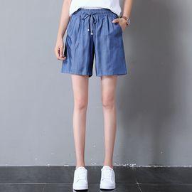 雅可希 天丝牛仔裤五分裤女阔腿宽松大码胖mm短裤薄款高腰中裤8568