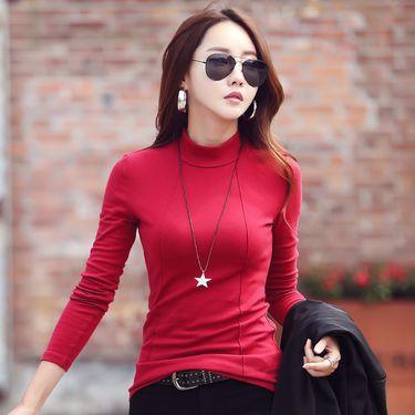 春季半高领棉打底衫女装长袖2019新款韩版百搭T恤上衣服8632