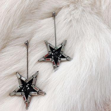 Silver 大五角星水钻镶嵌黑色亮片耳坠耳环 韩国原创设计 buyer