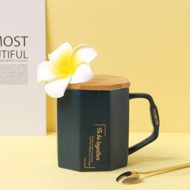 YNA 精致复古木盖带勺个性陶瓷咖啡杯