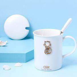 YNA 创意浮雕陶瓷猫咪带盖勺马克杯办公室咖啡杯 白色