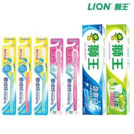 狮王 细齿洁弹力护龈牙刷*3+细齿洁晶彩牙刷*2+劲爽白牙膏*2