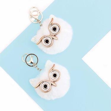 YNA 大眼睛猫头鹰毛毛球钥匙扣 白色