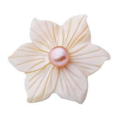 伶达 饰品韩版时尚贝壳小领针新款花朵开衫扣刺马针淡水珍珠小胸针