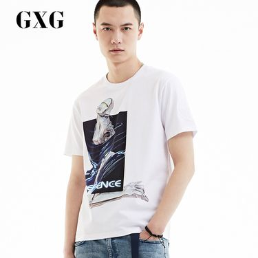 GXG 男装 夏季男士时尚都市简约流行白色青年修身圆领短袖T恤男