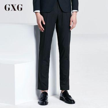 GXG 裤男装 春季男士韩版休闲裤长时尚潮流修身藏青色裤子男西裤