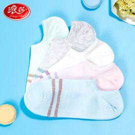 浪莎 袜子女纯棉隐形短筒浅口船袜5双