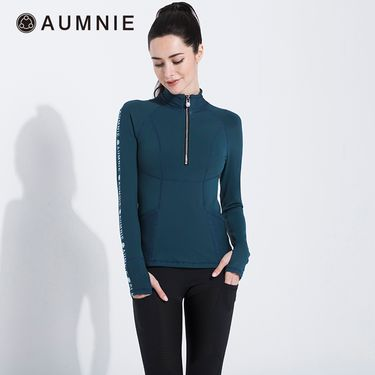 aumnie 澳弥尼丨女士新款运动服健身跑步修身瑜伽服半拉链LOGO上衣