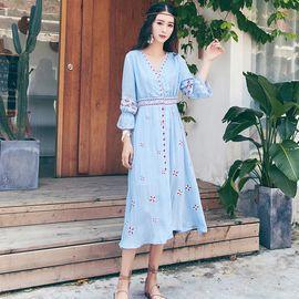 雅可希 民族风连衣裙女夏海边度假波西米亚沙滩裙泰国普吉岛适合拍照裙子7168