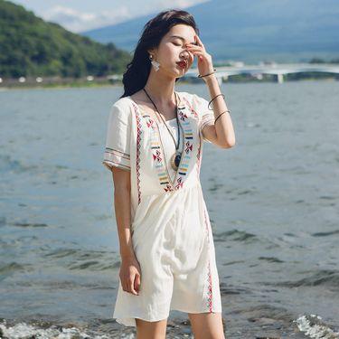 小个子中国风沙滩裙女夏2019新款民族风连衣裙海边度假泰国游裙子7372